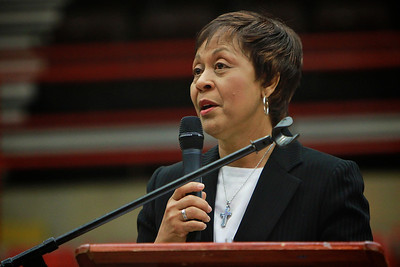 Civil Rights Pioneer Carolyn McKinstry speaks for Gardner-Webb University's MLK day Dimensions Program.