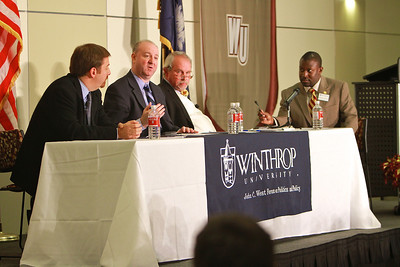A GWU government class travels to Winthrop University to attend a panel discussion on media coverage of the presidential campaign, led by NBC's Chuck Todd, CNN's Steve Brusk, and Steve Brook of Columbia's The State newspaper.