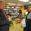 Tribune-Star/Jim Avelis<br /> Let's talk: Chris McGrew, Director of International Programs and services at Indiana State University talks with sophomore Erika Lomax after a virtual session with a Peace Corp representative.