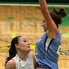 Tribune-Star/Jim Avelis<br /> And one: Brooklyn Waters draws a foul from Shakamak defender Lacey Gilbert.