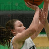 Tribune-Star/Jim Avelis<br /> Touch foul: West Vigo's Brooklyn Waters is fouled as she shoots in the Viking's game with Shakamak Thursday night.