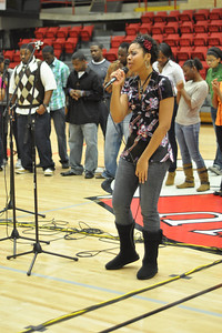 GWU Gospel Choir leads in a few songs for a prayer service and memorial for Ariane Patterson in the LYCC at noon January 20, 2012
