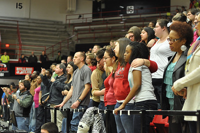 """GWU students, faculty, and staff sing  AMazing Grace"""" during the prayer service and memorial for Ariane Patterson in the LYCC at noon January 20, 2012"""