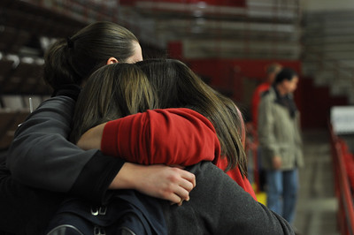 GWU students comfort one-another after the prayer service and memorial for Ariane Patterson in the LYCC at noon January 20, 2012