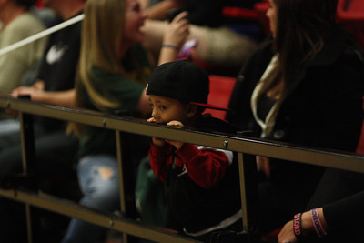 A young Gardner-Webb fan cheers on the bulldogs