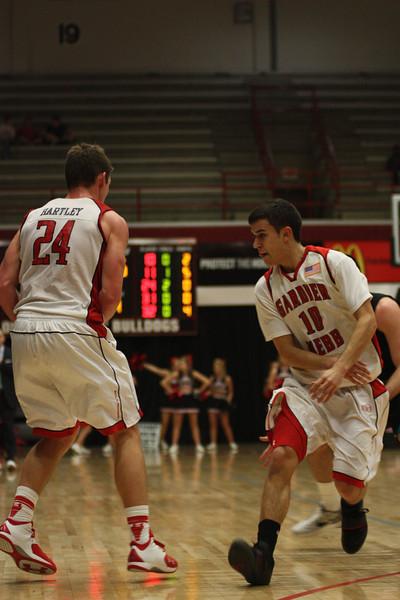Max Landis, 10, and Kevin Hartley, 24, make a pass