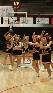 GWU Cheerleaders cheer on the bulldogs
