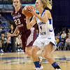 Schoen shot: Brittany Schoen launches a shot during first half action against Southern Illinois Sunday at Hulman Center. Chasing the play is Southern's #23, Jordyn Courier.
