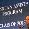 President: Indiana State University President Daniel Bradley gives and address during Sunday's White Coat Ceremony.