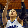 Mine: Indiana State freshman #34, Racheal Mahan hauls in a rebound during game action Sunday.