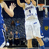 Three: Brittany Schoen launches a three during game action against Drake Sunday afternoon at Hulman Center.