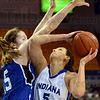Defended: Indiana State center Shannon Thomas is defended by Drake's #15, Rachael Hackbarth during game action Sunday at Hulman Center.