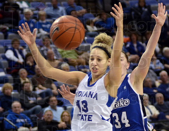 Out of reach: Deja Mattox is unable to get to a ball throw from behind on a breakaway scoring attempt against Drake at Hulman Center Sunday afternoon.
