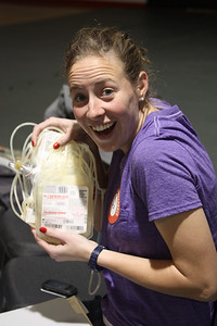 Chelsea Hearne is excited about her decision to donate blood during Wednesday's blood drive.