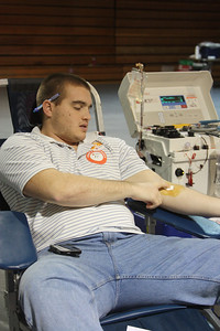 A GWU student donates doubles at Wednesday's blood drive.