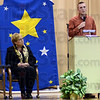 Stars: Deming Elementary School principal Susan Mardis (L) listens to Jeff Clutter, College and Career Preparation Manager during Friday's assembly honoring continuing education participants.