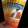 Super Bowl XLVI tickets from ticket broker Circle City Tickets.  For CNHI story by Maureen.<br /> <br /> Note: Ticket broker requested that the barcode and row and seat numbers be blurred out in photo.