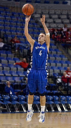 Nothing but net: Rockville's Cody Jeffries shoots a three-point basket to give the Rox the lead over Crawfordsville in the first half of action Saturday at Hulman Center.