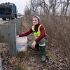 "Tribune-Star/Joseph C. Garza<br /> Have bucket, will rescue: Amber Slaughterbeck has made turtle rescue a daily habit during what she calls the ""season"" from April to early November which is when she sees the most turtle travel across U.S. 40, east of West Terre Haute."