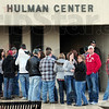 Church people: Eric Church fans stand in line at Hulman Center Saturday evening.