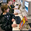 "Tribune-Star/Joseph C. Garza<br /> Computer-based learning: Riverton-Parke sophomore Odin Meyers uses a program that teacher John DeLisle describes as an""educational FaceBook"" during class Jan. 12 at the Parke County school."