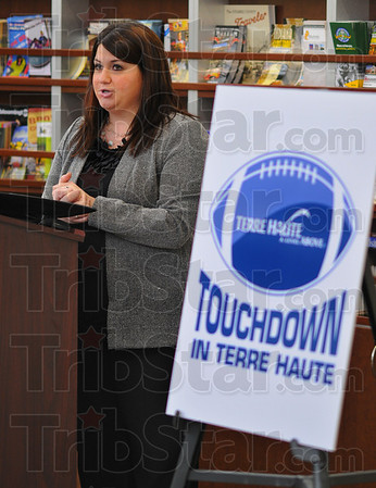 Tribune-Star/Jim Avelis<br /> Welcome: Rachel Leslie, Executive vice-president of the Terre Haute Chamber of Commerce, talks about the web portal helping Superbowl fans with transportation through Terre Haute. TouchdownTerreHaute.com is the address.