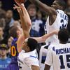 Tribune-Star/Joseph C. Garza<br /> Denied: Indiana State's Myles Walker, top, blocks a shot by Northern Iowa's Jake Koch during the Sycamores' win Wednesday at Hulman Center.