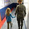 Tribune-Star/Jim Avelis<br /> Time to talk: Lena Leslie-Holt walks the hallway of Terre Town Elementary School with her mother, USAF Major R. Raynae Leslie Wednesday morning. The Major surprised her parents and children with an early return from deployment to Afghanistan.