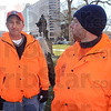 Workers: Mike Hardy and Jeff Smith, members of Laborers Local 204 in Terre Haute, traveled to Indianapolis Wednesday to join other union members.
