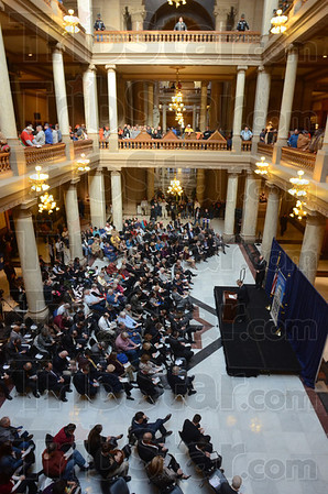 Opener:The short session of the Indiana legislature opened Wednesday with a prayer service in the atrium of the statehouse.