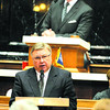 House Minority Leader B. Patrick Bauer, D-South Bend, speaks on the Right To Work bill while Speaker of the House Brian Bosma, R-Indianapolis, listens at the Statehouse Monday, Jan. 9, 2012, in Indianapolis. The House Democrats on Monday ended a three-day boycott of the Legislature over a contentious labor bill but are not promising to stay long enough to allow a final vote on the divisive measure. (AP Photo/Darron Cummings)