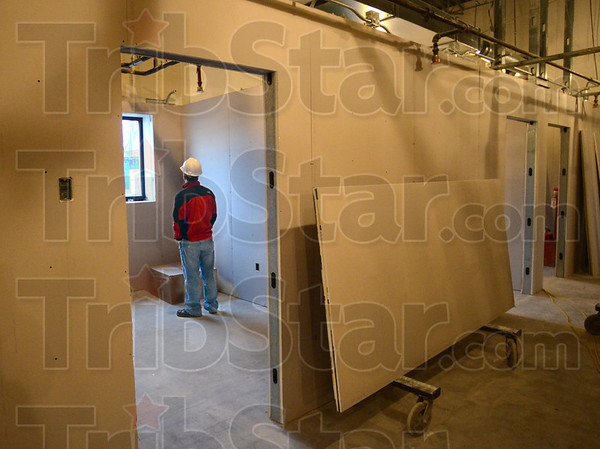 CFO: Vermillion-Parke Community Health Center CF0 T.J. Warren does a visual inspection of the construction underway at the facility Friday afternoon.