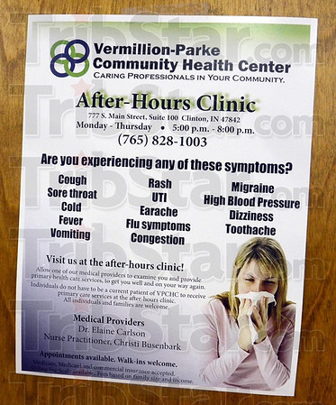 Notice: Sign hanging in the Vermillion-Parke Community Health Center.