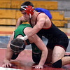 Tribune-Star/Jim Avelis<br /> No pushover: Tsali Lough is in control of his match with West Vigo's Sam McClain.