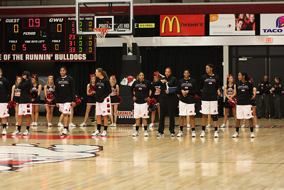 Gardner-Webb players line up for the national anthem