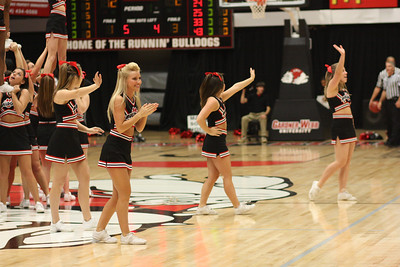 GWU Cheerleaders cheer on the bulldogs