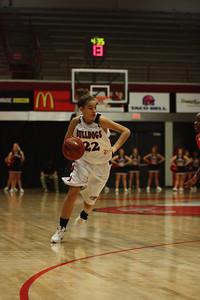 Jalynn Bradburn, 22, dribbles the ball