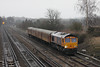 18 January 2012 ::  66711 with LUL TC unit working West Ruislip to Eastleigh approaches Worting