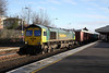 26 January 2012 :: 66591 routed on the Up platform at Basingstoke with Down train, 4O14 Birch Coppice to Southampton