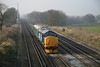 """31 January 2012 :: 975025 """"Caroline"""" propelled by 37409 passes Potbridge with 2Z02, Cardiff to Bristol Parkway via Acton, Andover, Southampton and Basingstoke edit"""