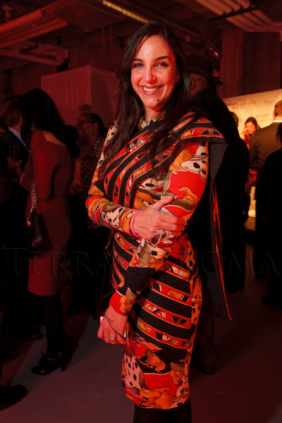 "Tariana Navas-Nieves wears a custom-made dress from a Puerto Rican designer, Nidia Joy.  Ticket release party for ""Yves Saint Laurent:  A Retrospective,"" benefiting the Denver Art Museum, at The Ritz-Carlton, Denver, in Denver, Colorado, on Wednesday, Jan. 18, 2012.<br /> Photo Steve Peterson"