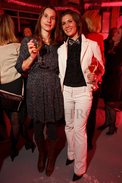 "Leila Schwyhart and Megan Hudacky (2010 co-chair of Design After Dark).  Ticket release party for ""Yves Saint Laurent:  A Retrospective,"" benefiting the Denver Art Museum, at The Ritz-Carlton, Denver, in Denver, Colorado, on Wednesday, Jan. 18, 2012.<br /> Photo Steve Peterson"