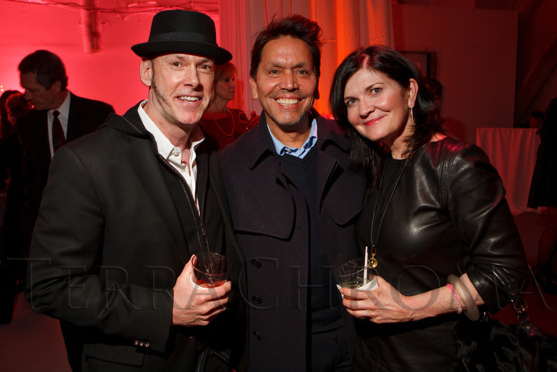 "Dan Sharp, Max Martinez, and Janet O'Grady (Aspen Magazine editor in chief).  Ticket release party for ""Yves Saint Laurent:  A Retrospective,"" benefiting the Denver Art Museum, at The Ritz-Carlton, Denver, in Denver, Colorado, on Wednesday, Jan. 18, 2012.<br /> Photo Steve Peterson"