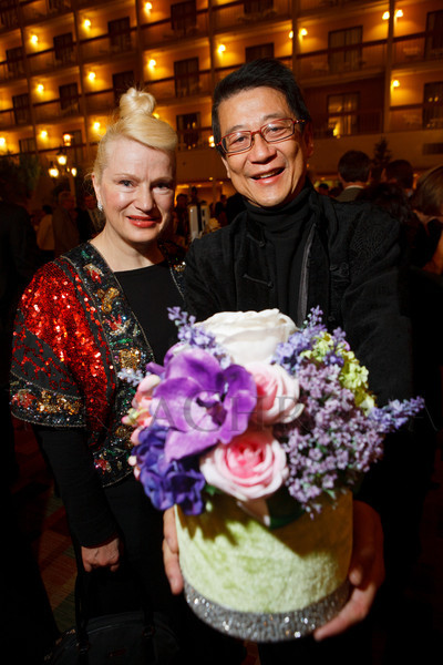 Isabelle Lafforgue (designer of the centerpieces) and Peter Yu.  The 10th Annual Chinese New Year Gala, benefiting the Nathan Yip Foundation, at Denver Marriott Tech Center in Denver, Colorado, on Saturday, Jan. 28, 2012.<br /> Photo Steve Peterson