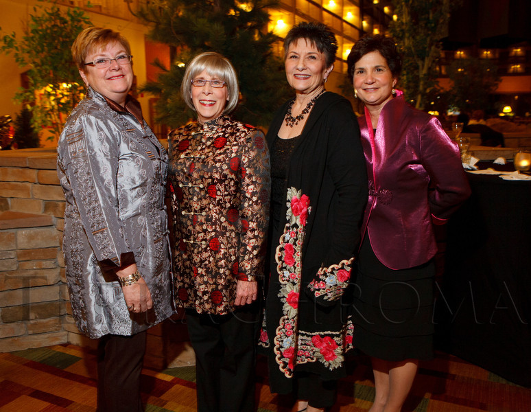Peg Sherwood, Jo Kuberry, Pam Churchwell, and Denise Gliwa.  The 10th Annual Chinese New Year Gala, benefiting the Nathan Yip Foundation, at Denver Marriott Tech Center in Denver, Colorado, on Saturday, Jan. 28, 2012.<br /> Photo Steve Peterson