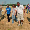 """Tribune-Star/Joseph C. Garza<br /> Victim management: U.S. Air Force Tech Sgt. April Simmons, left, corrals the """"walking wounded"""" during a mock disaster drill at the Terre Haute International Airport Thursday."""