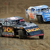 Lead:  Number 36 Kenny Wallace leads the field to the flag during racing at the Vigo County Fairgrounds Thursday night.