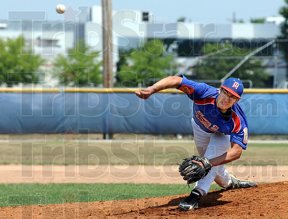 Heat: Post 346 pitcher T.J. Decker fires a pitch to the plate durng game action Sunday afternoon.
