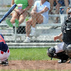 Low inside: North's #4, Parker Hathaway presents a very small strike zone on a low inside pitch during game action against West Vigo Sunday afternoon. West Vigo catcher Colton Yates catches the errant ball.
