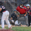 Tribune-Star/Jim Avelis<br /> Batter up: Clay County batter Jonathan Pearson watches the ball onto the bat . Pitching for Riley in the Cal Rikpen game is Caleb Gosner while behind the plate is Colin Salyers.